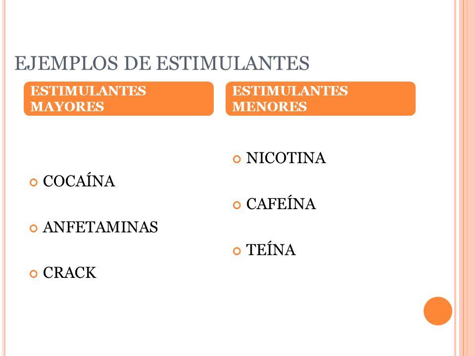 EJEMPLOS DE ESTIMULANTES COCAÍNA ANFETAMINAS CRACK NICOTINA CAFEÍNA TEÍNA ESTIMULANTES MAYORES ESTIMULANTES MENORES