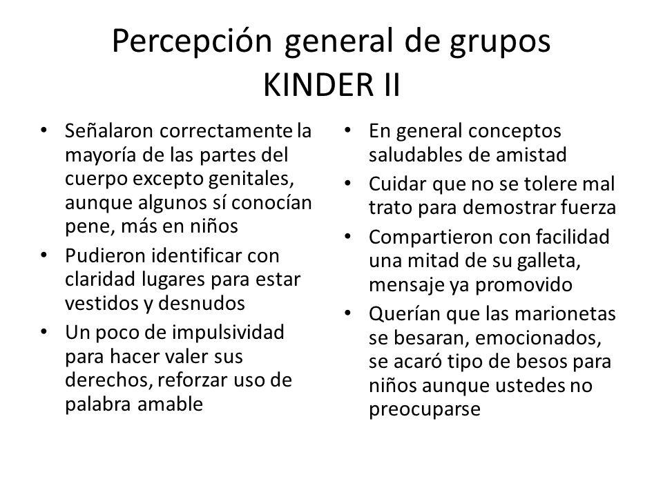 Percepción general de grupos KINDER II Señalaron correctamente la mayoría de las partes del cuerpo excepto genitales, aunque algunos sí conocían pene,