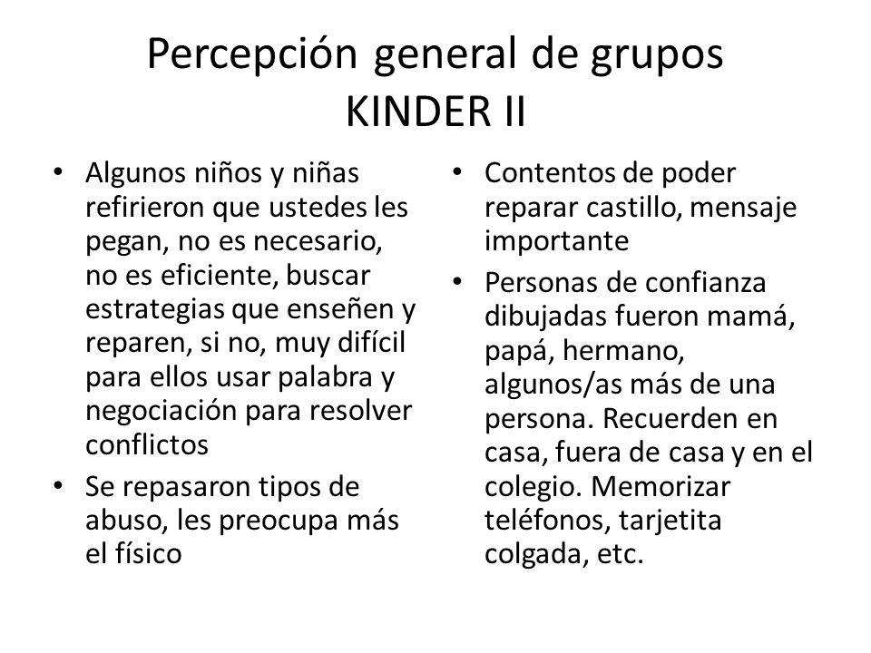 Percepción general de grupos KINDER II Algunos niños y niñas refirieron que ustedes les pegan, no es necesario, no es eficiente, buscar estrategias qu