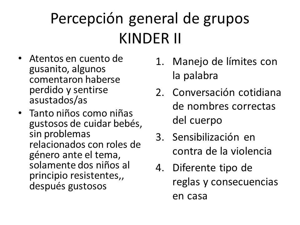 Percepción general de grupos KINDER II Atentos en cuento de gusanito, algunos comentaron haberse perdido y sentirse asustados/as Tanto niños como niña