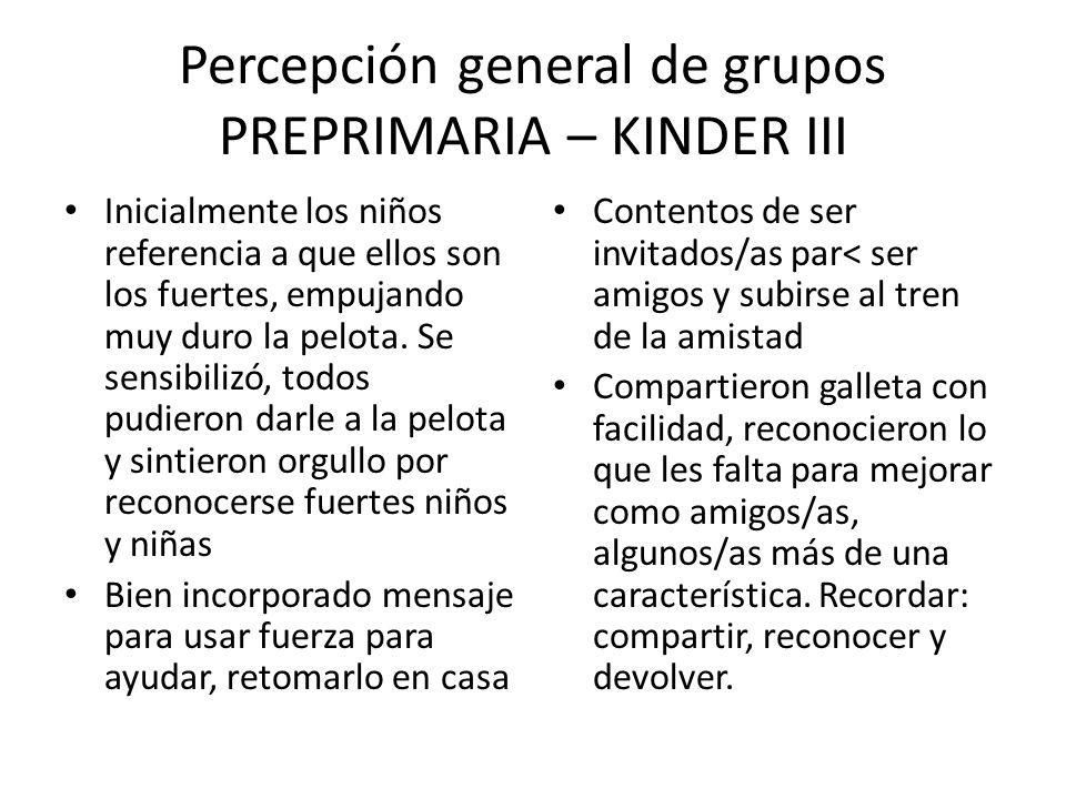 Percepción general de grupos PREPRIMARIA – KINDER III Inicialmente los niños referencia a que ellos son los fuertes, empujando muy duro la pelota. Se