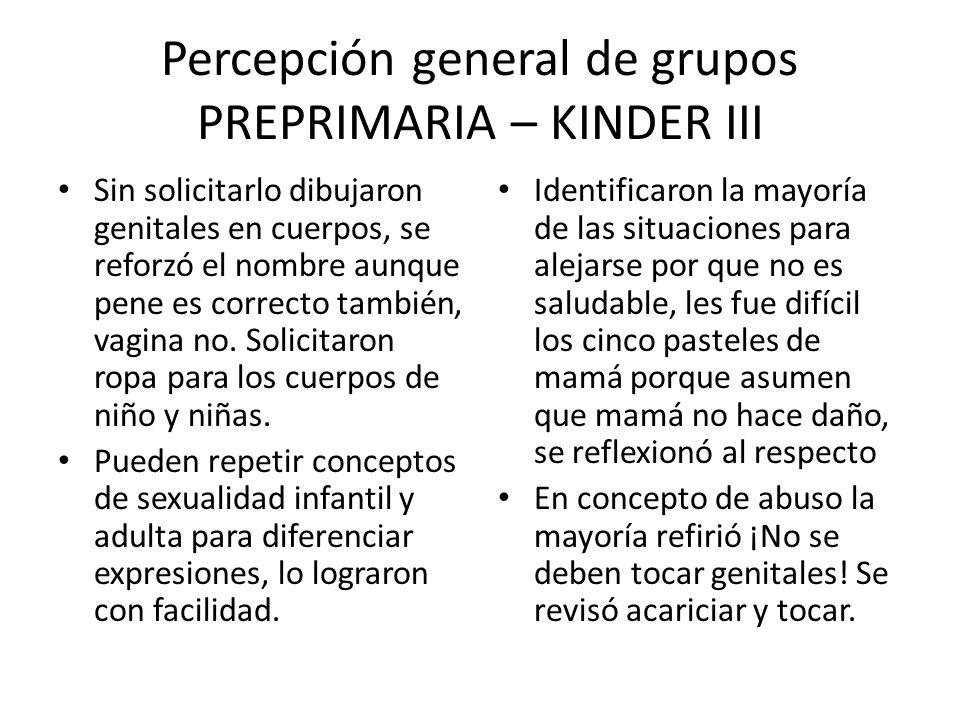 Percepción general de grupos PREPRIMARIA – KINDER III Sin solicitarlo dibujaron genitales en cuerpos, se reforzó el nombre aunque pene es correcto tam