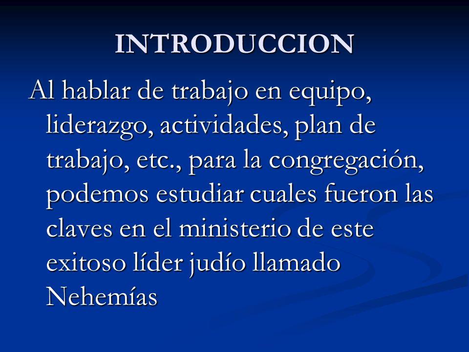 INTRODUCCION Al hablar de trabajo en equipo, liderazgo, actividades, plan de trabajo, etc., para la congregación, podemos estudiar cuales fueron las c