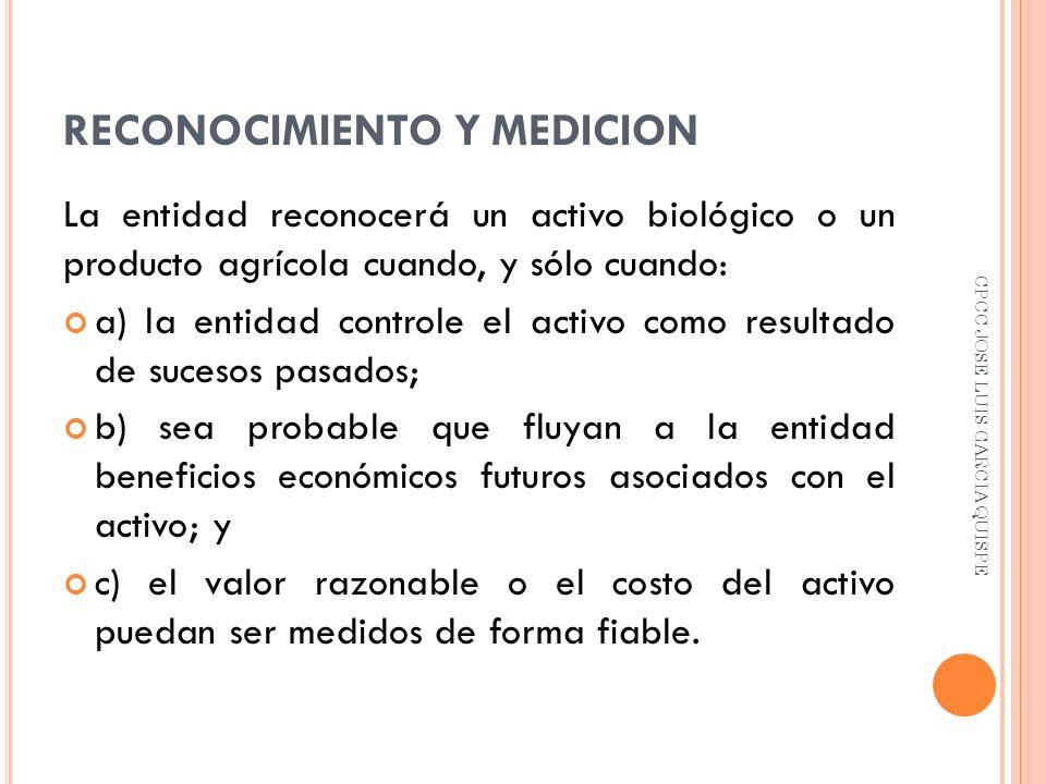 RECONOCIMIENTO Y MEDICION La entidad reconocerá un activo biológico o un producto agrícola cuando, y sólo cuando: a) la entidad controle el activo com