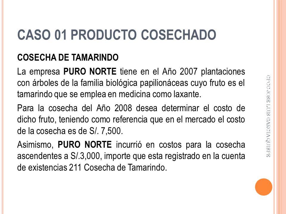 CASO 01 PRODUCTO COSECHADO COSECHA DE TAMARINDO La empresa PURO NORTE tiene en el Año 2007 plantaciones con árboles de la familia biológica papilionác