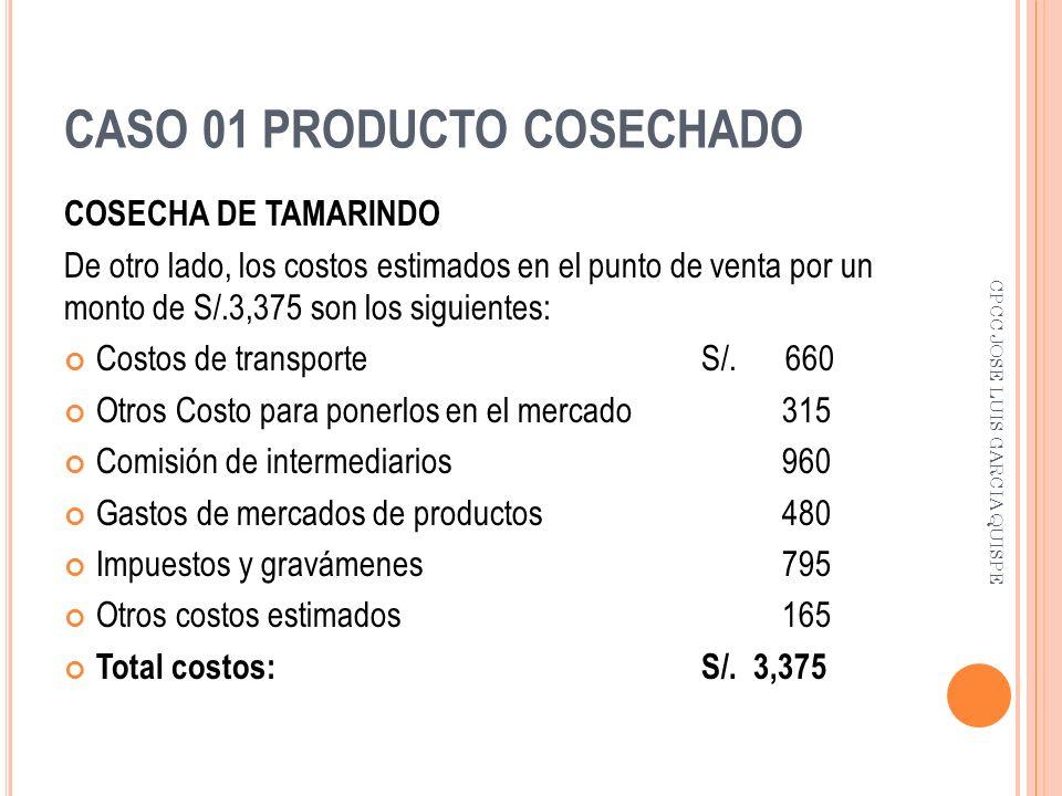CASO 01 PRODUCTO COSECHADO COSECHA DE TAMARINDO De otro lado, los costos estimados en el punto de venta por un monto de S/.3,375 son los siguientes: C