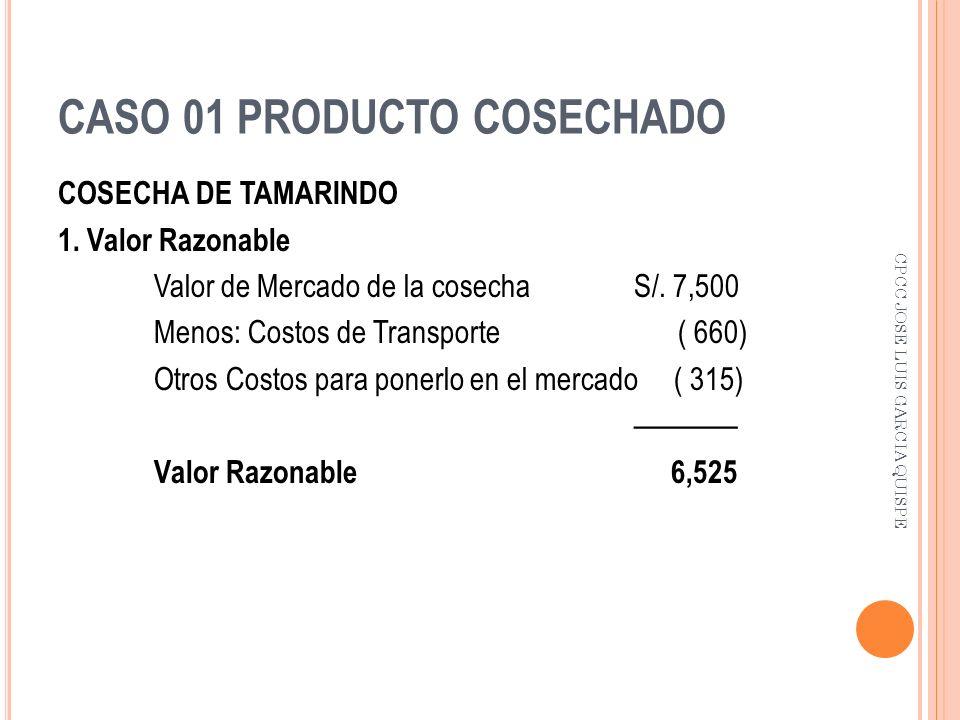 CASO 01 PRODUCTO COSECHADO COSECHA DE TAMARINDO 1. Valor Razonable Valor de Mercado de la cosecha S/. 7,500 Menos: Costos de Transporte ( 660) Otros C