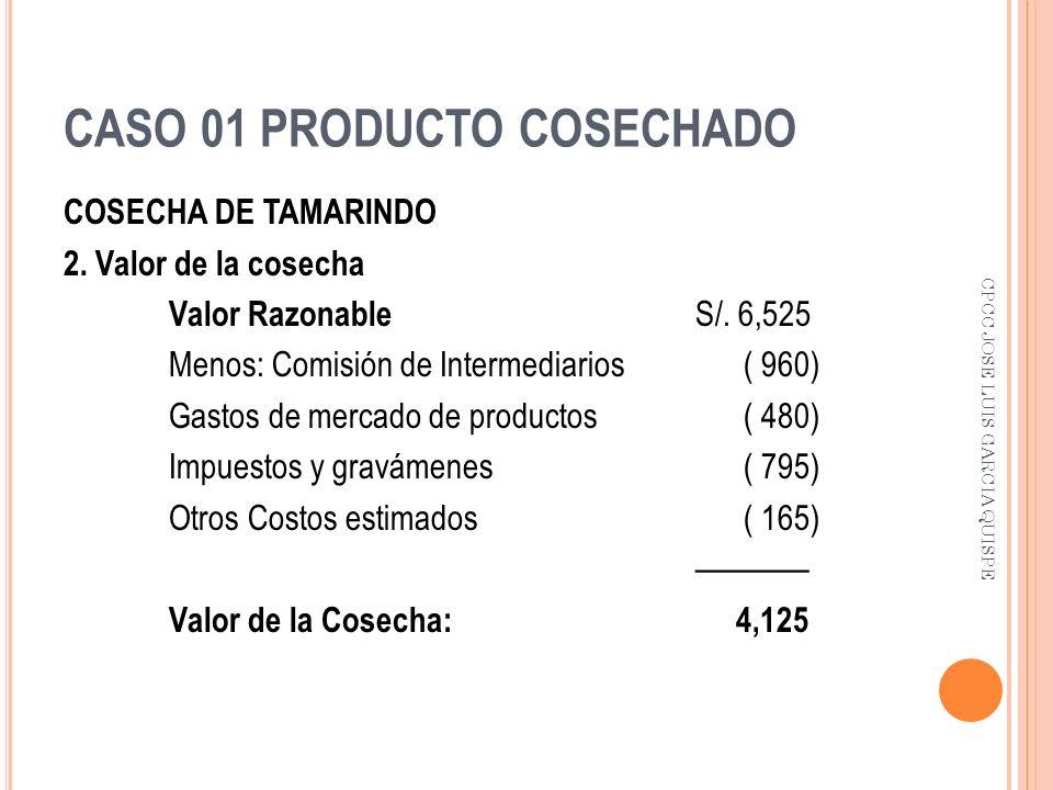 CASO 01 PRODUCTO COSECHADO COSECHA DE TAMARINDO 2. Valor de la cosecha Valor Razonable S/. 6,525 Menos: Comisión de Intermediarios ( 960) Gastos de me