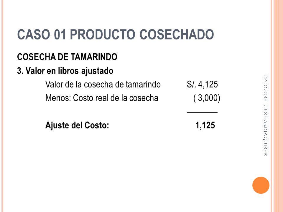 CASO 01 PRODUCTO COSECHADO COSECHA DE TAMARINDO 3. Valor en libros ajustado Valor de la cosecha de tamarindo S/. 4,125 Menos: Costo real de la cosecha