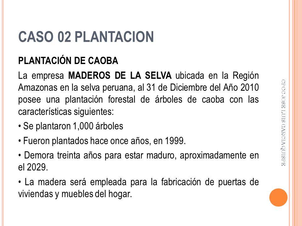 CASO 02 PLANTACION PLANTACIÓN DE CAOBA La empresa MADEROS DE LA SELVA ubicada en la Región Amazonas en la selva peruana, al 31 de Diciembre del Año 20