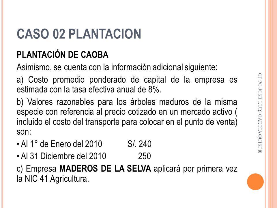 CASO 02 PLANTACION PLANTACIÓN DE CAOBA Asimismo, se cuenta con la información adicional siguiente: a) Costo promedio ponderado de capital de la empres