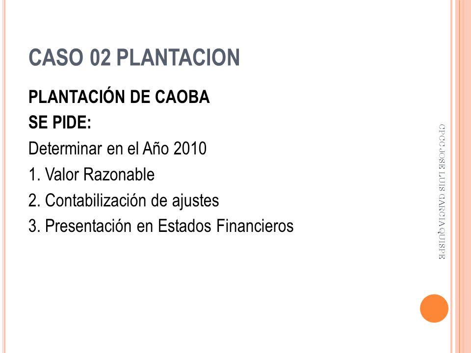 CASO 02 PLANTACION PLANTACIÓN DE CAOBA SE PIDE: Determinar en el Año 2010 1. Valor Razonable 2. Contabilización de ajustes 3. Presentación en Estados