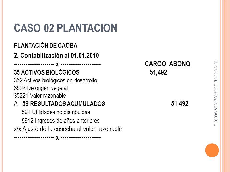 CASO 02 PLANTACION PLANTACIÓN DE CAOBA 2. Contabilización al 01.01.2010 --------------------- x --------------------- CARGO ABONO 35 ACTIVOS BIOLÓGICO