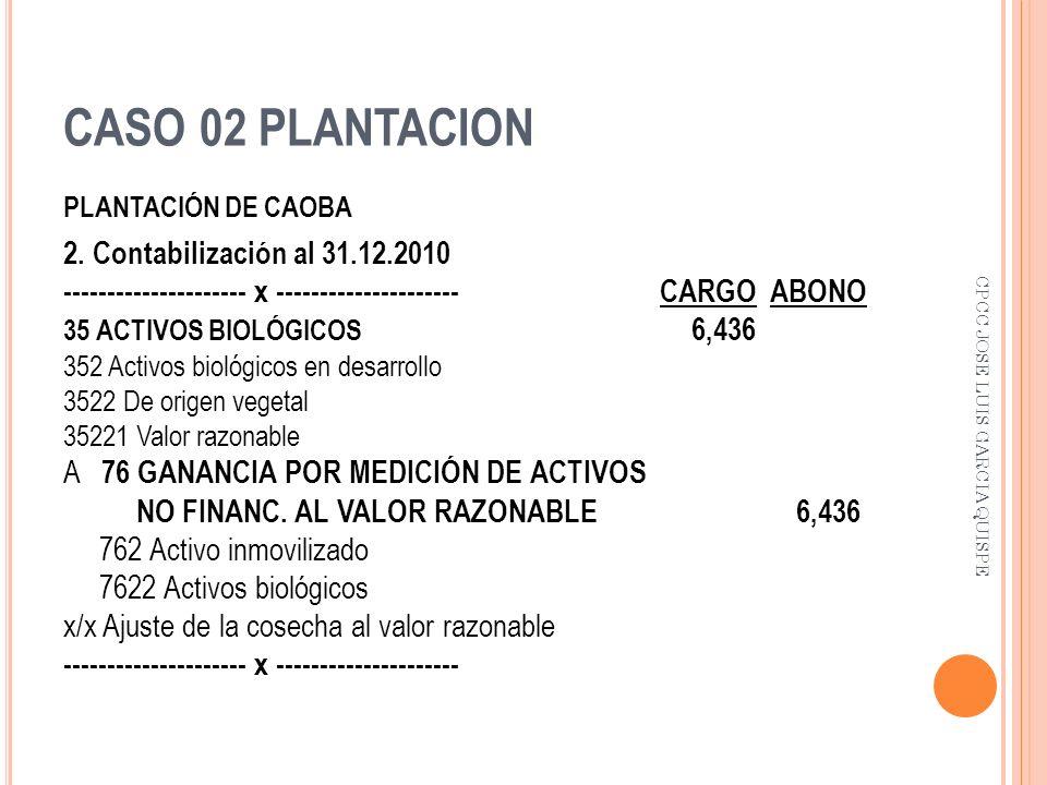 CASO 02 PLANTACION PLANTACIÓN DE CAOBA 2. Contabilización al 31.12.2010 --------------------- x --------------------- CARGO ABONO 35 ACTIVOS BIOLÓGICO