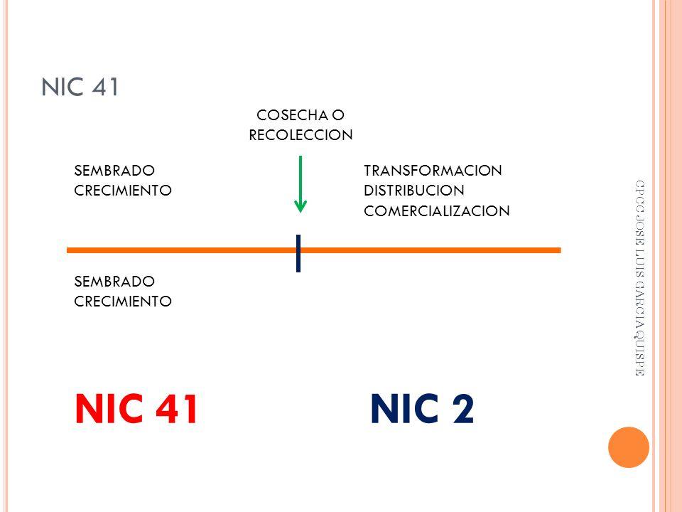 NIC 41 SEMBRADO CRECIMIENTO TRANSFORMACION DISTRIBUCION COMERCIALIZACION NIC 41NIC 2 COSECHA O RECOLECCION SEMBRADO CRECIMIENTO CPCC JOSE LUIS GARCIA