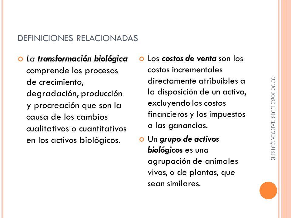 DEFINICIONES RELACIONADAS La transformación biológica comprende los procesos de crecimiento, degradación, producción y procreación que son la causa de