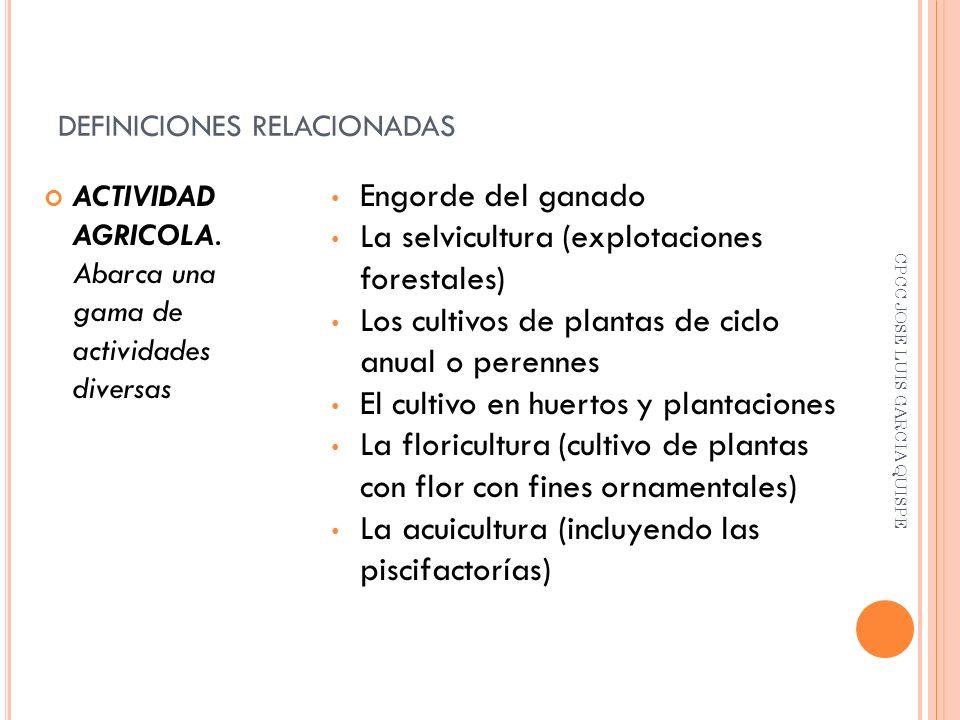 DEFINICIONES RELACIONADAS ACTIVIDAD AGRICOLA.