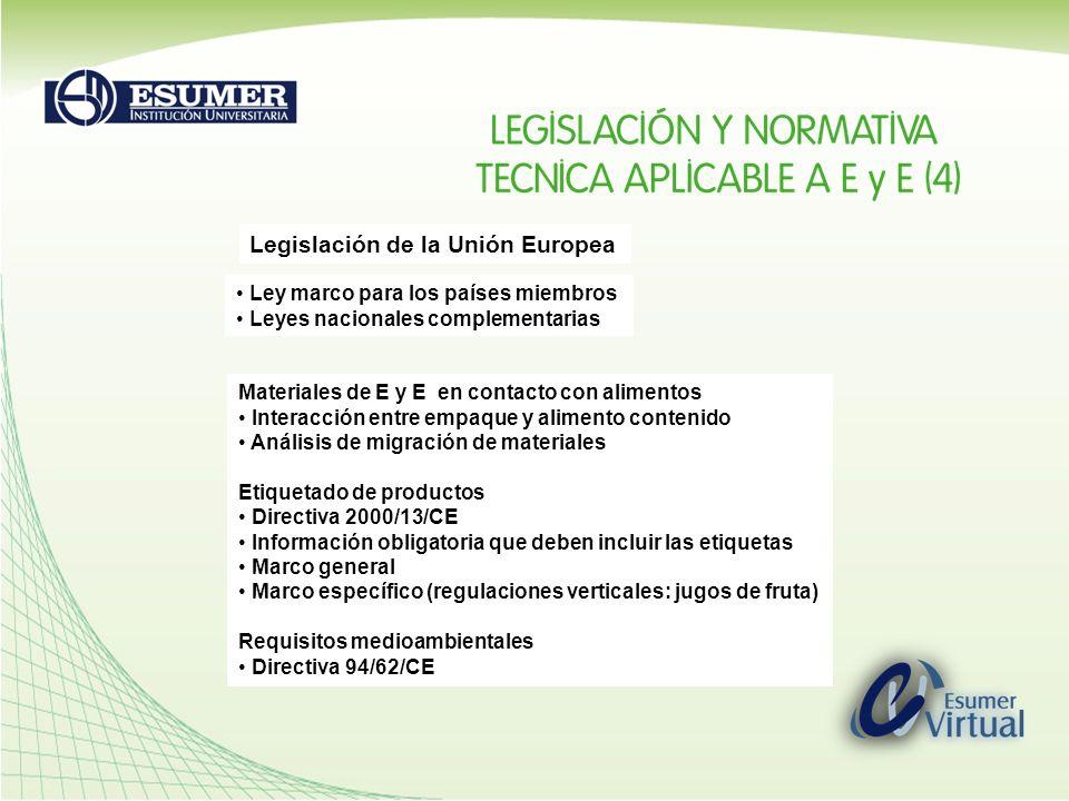 Legislación de la Unión Europea Ley marco para los países miembros Leyes nacionales complementarias Materiales de E y E en contacto con alimentos Inte