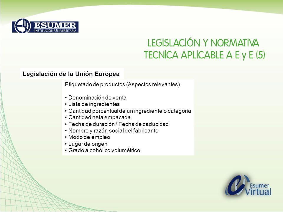 Legislación de la Unión Europea Etiquetado de productos (Aspectos relevantes) Denominación de venta Lista de ingredientes Cantidad porcentual de un in