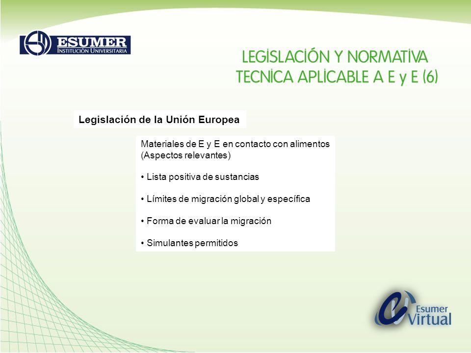 Legislación de la Unión Europea Materiales de E y E en contacto con alimentos (Aspectos relevantes) Lista positiva de sustancias Límites de migración