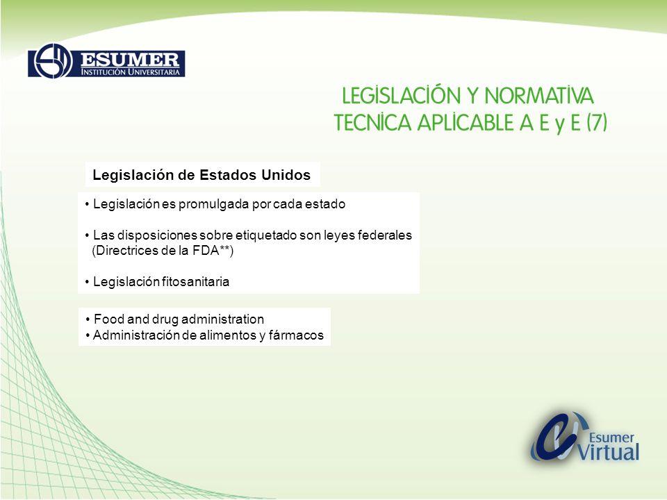 Legislación de Estados Unidos Legislación es promulgada por cada estado Las disposiciones sobre etiquetado son leyes federales (Directrices de la FDA*