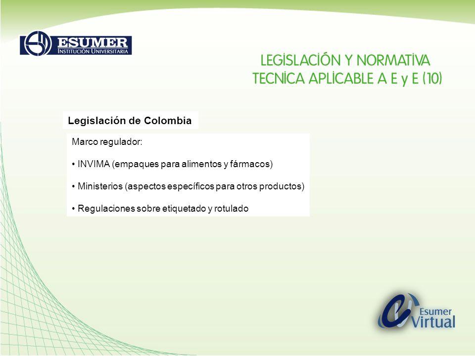 Legislación de Colombia Marco regulador: INVIMA (empaques para alimentos y fármacos) Ministerios (aspectos específicos para otros productos) Regulacio