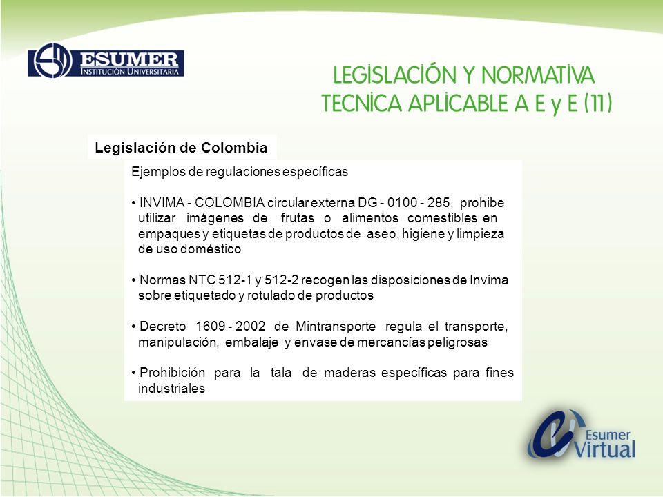Legislación de Colombia Ejemplos de regulaciones específicas INVIMA - COLOMBIA circular externa DG - 0100 - 285, prohibe utilizar imágenes de frutas o