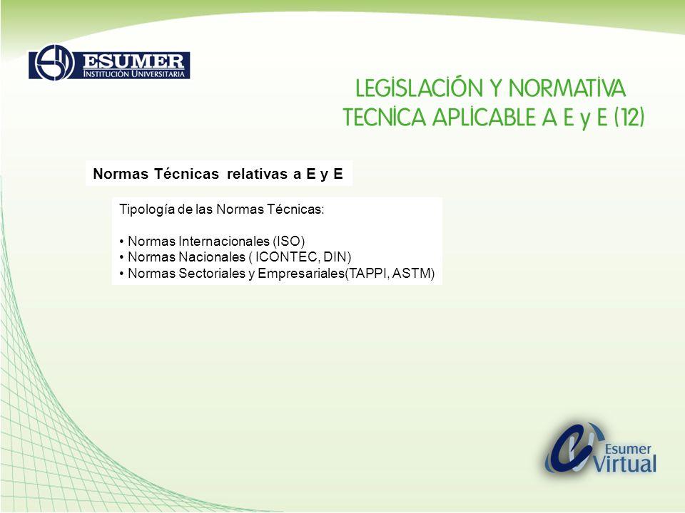 Normas Técnicas relativas a E y E Tipología de las Normas Técnicas: Normas Internacionales (ISO) Normas Nacionales ( ICONTEC, DIN) Normas Sectoriales