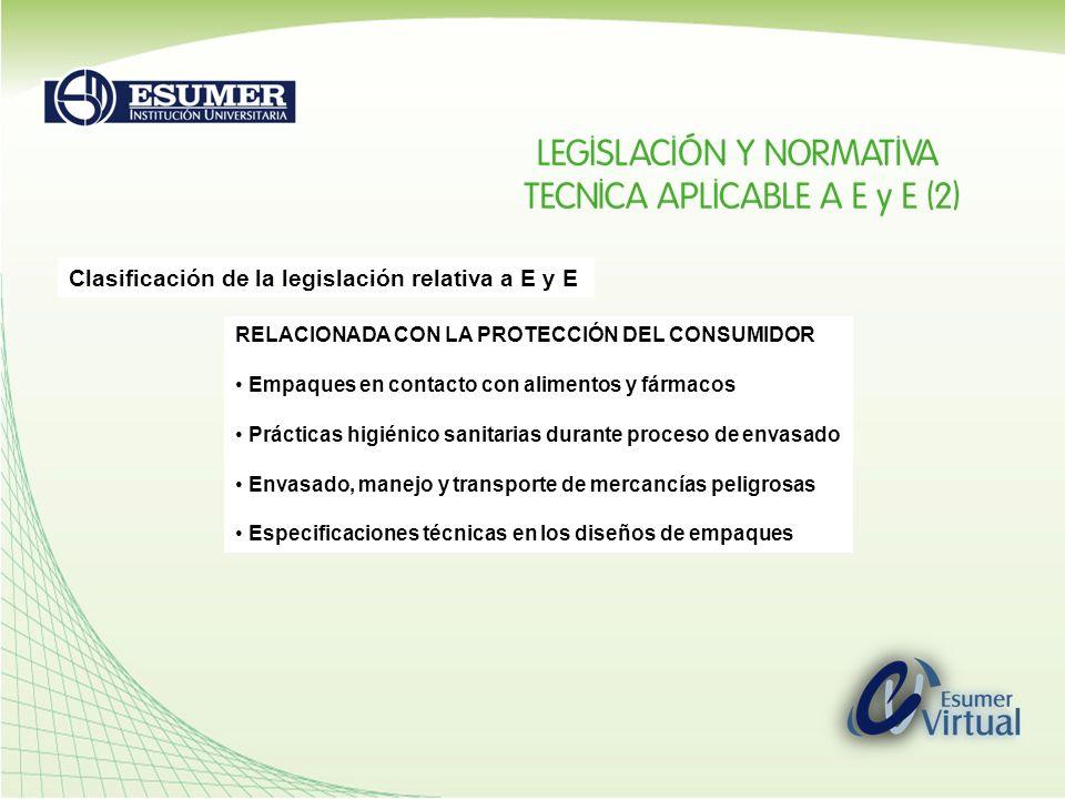 Clasificación de la legislación relativa a E y E RELACIONADA CON LA PROTECCIÓN DEL MEDIO AMBIENTE Sistemas de gestión de residuos de E y E Materiales y Métodos de fabricación de empaques Legislación fitosanitaria RELACIONADA CON PRACTICAS COMERCIALES Marcaje y Rotulado de empaques y embalajes