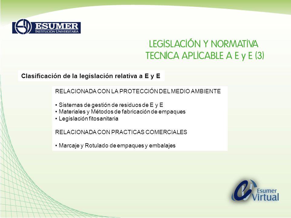 Clasificación de la legislación relativa a E y E RELACIONADA CON LA PROTECCIÓN DEL MEDIO AMBIENTE Sistemas de gestión de residuos de E y E Materiales