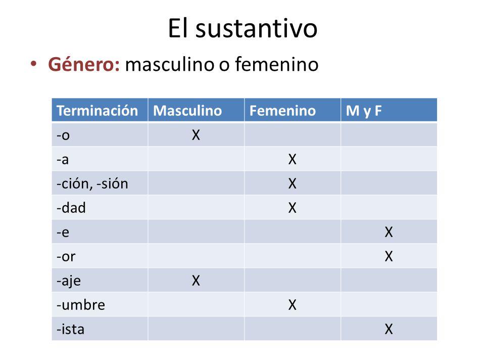 El sustantivo Género: masculino o femenino TerminaciónMasculinoFemeninoM y F -o-oX -aX -ción, -siónX -dadX -eX -orX -ajeX -umbreX -istaX