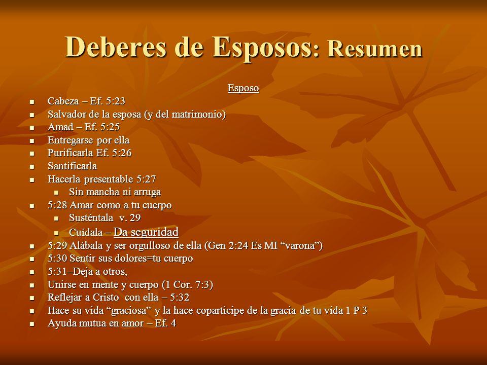 Deberes de Esposos : Resumen Esposo Cabeza – Ef.5:23 Cabeza – Ef.