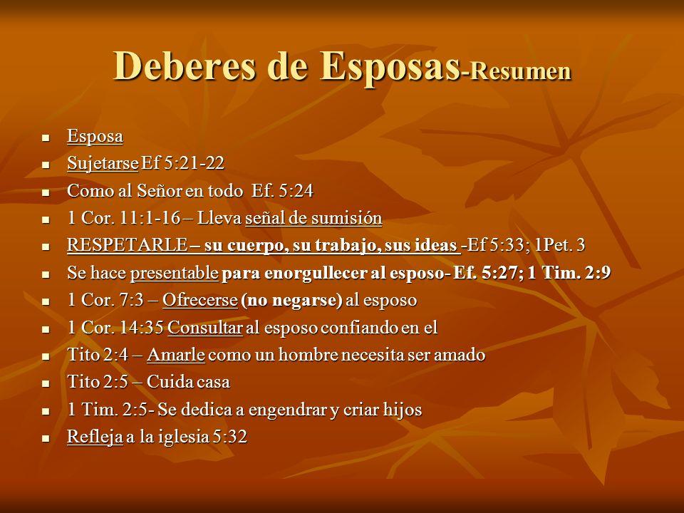 Deberes de Esposas -Resumen Esposa Esposa Sujetarse Ef 5:21-22 Sujetarse Ef 5:21-22 Como al Señor en todo Ef.