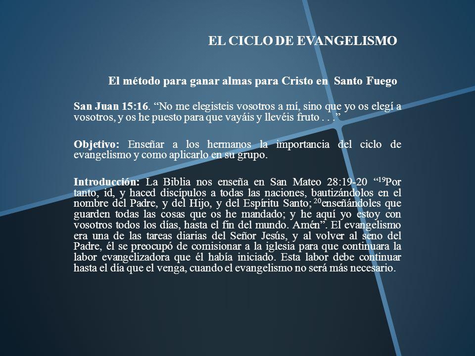 EL CICLO DE EVANGELISMO El método para ganar almas para Cristo en Santo Fuego San Juan 15:16. No me elegisteis vosotros a mí, sino que yo os elegí a v