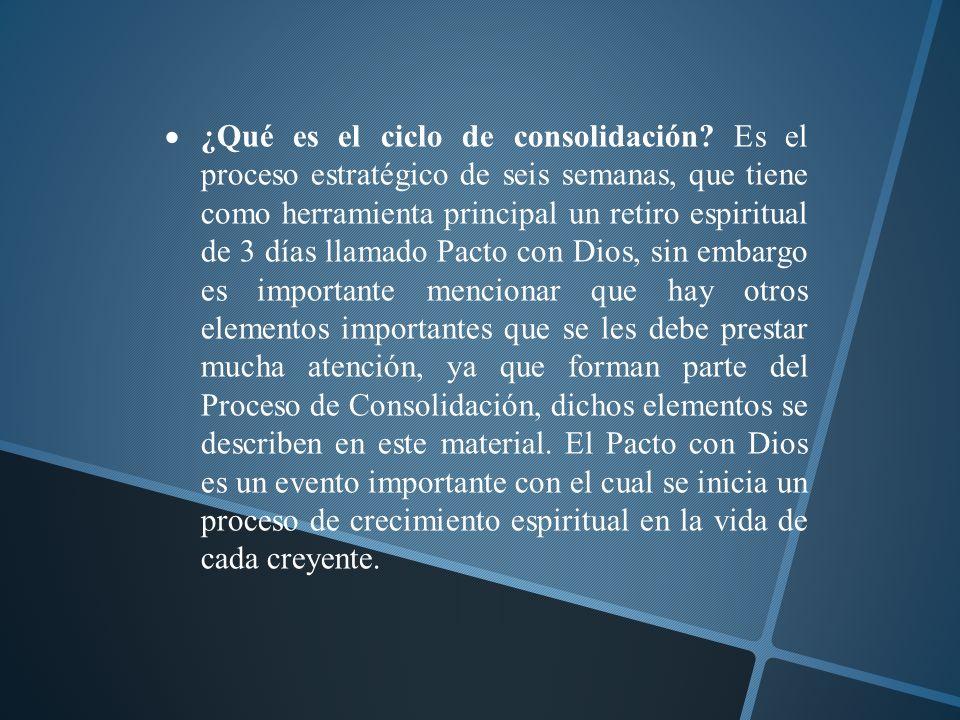 ¿Qué es el ciclo de consolidación? Es el proceso estratégico de seis semanas, que tiene como herramienta principal un retiro espiritual de 3 días llam