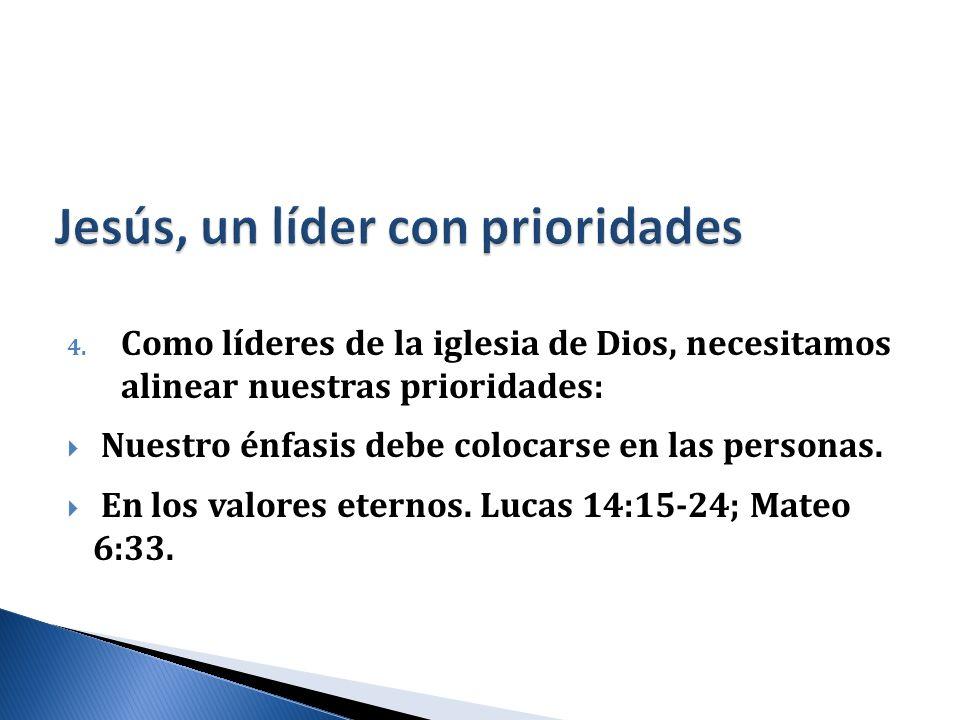 4. Como líderes de la iglesia de Dios, necesitamos alinear nuestras prioridades: Nuestro énfasis debe colocarse en las personas. En los valores eterno