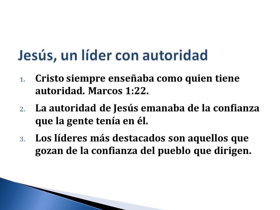 1. Cristo siempre enseñaba como quien tiene autoridad. Marcos 1:22. 2. La autoridad de Jesús emanaba de la confianza que la gente tenía en él. 3. Los
