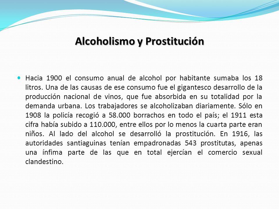 Alcoholismo y Prostitución Hacia 1900 el consumo anual de alcohol por habitante sumaba los 18 litros. Una de las causas de ese consumo fue el gigantes