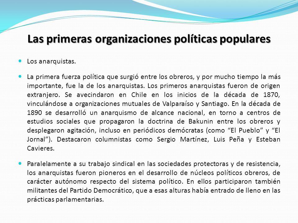 Las primeras organizaciones políticas populares Los anarquistas. La primera fuerza política que surgió entre los obreros, y por mucho tiempo la más im