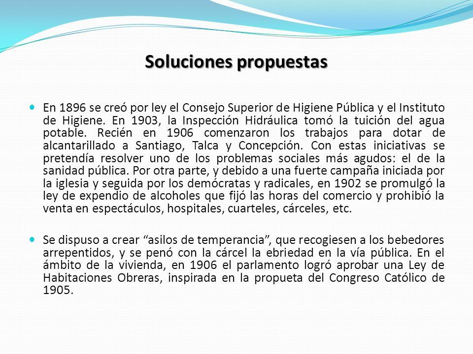 Soluciones propuestas En 1896 se creó por ley el Consejo Superior de Higiene Pública y el Instituto de Higiene. En 1903, la Inspección Hidráulica tomó
