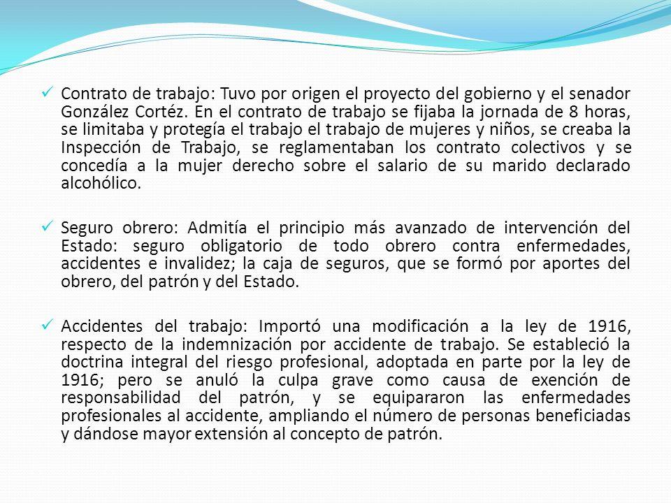 Contrato de trabajo: Tuvo por origen el proyecto del gobierno y el senador González Cortéz. En el contrato de trabajo se fijaba la jornada de 8 horas,