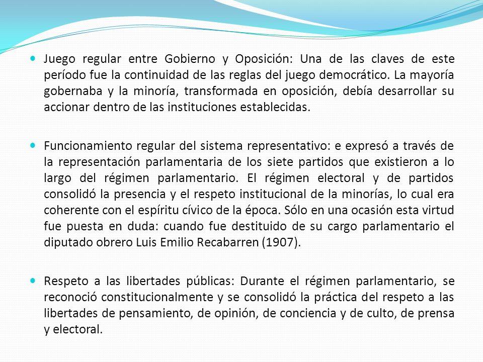 Juego regular entre Gobierno y Oposición: Una de las claves de este período fue la continuidad de las reglas del juego democrático. La mayoría goberna