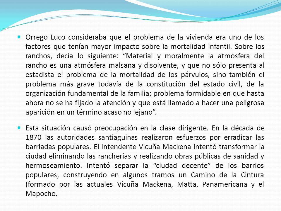 Orrego Luco consideraba que el problema de la vivienda era uno de los factores que tenían mayor impacto sobre la mortalidad infantil. Sobre los rancho