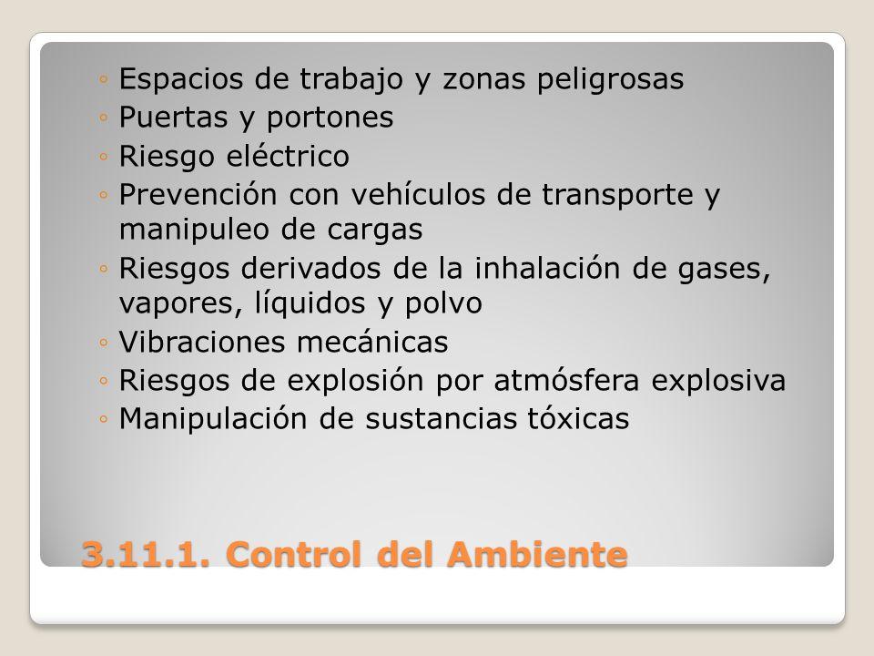 3.11.1. Control del Ambiente 3.11.1. Control del Ambiente Espacios de trabajo y zonas peligrosas Puertas y portones Riesgo eléctrico Prevención con ve