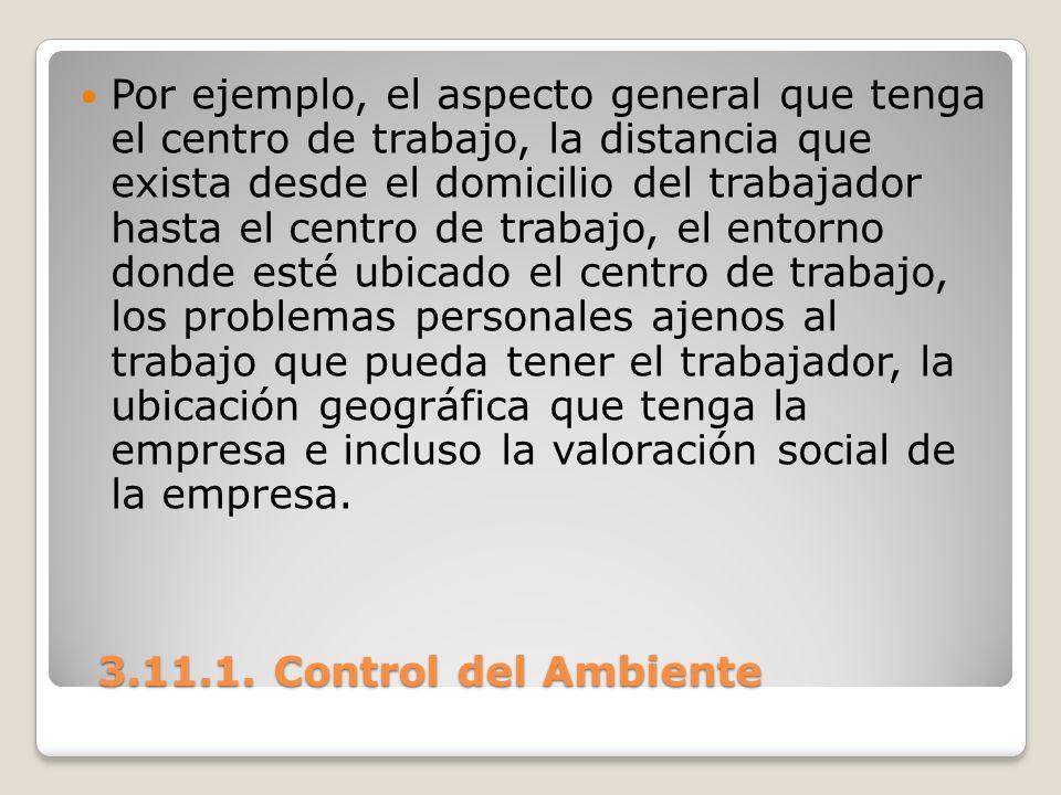 3.11.1. Control del Ambiente 3.11.1. Control del Ambiente Por ejemplo, el aspecto general que tenga el centro de trabajo, la distancia que exista desd