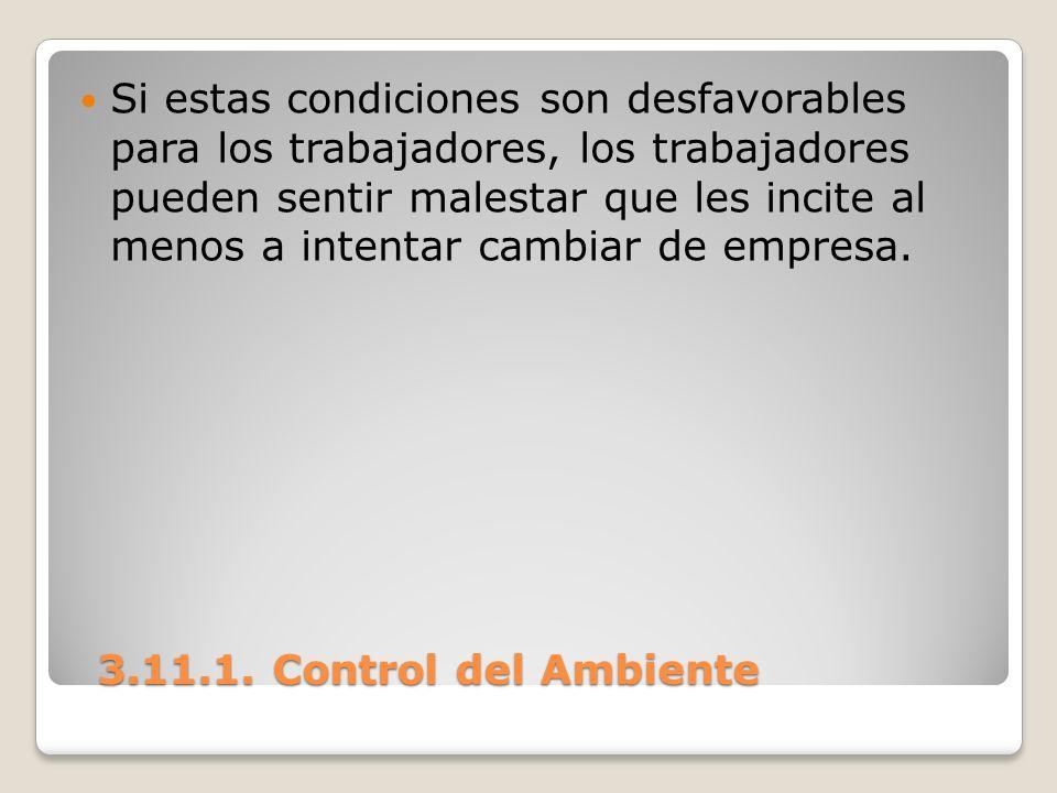3.11.1. Control del Ambiente 3.11.1. Control del Ambiente Si estas condiciones son desfavorables para los trabajadores, los trabajadores pueden sentir