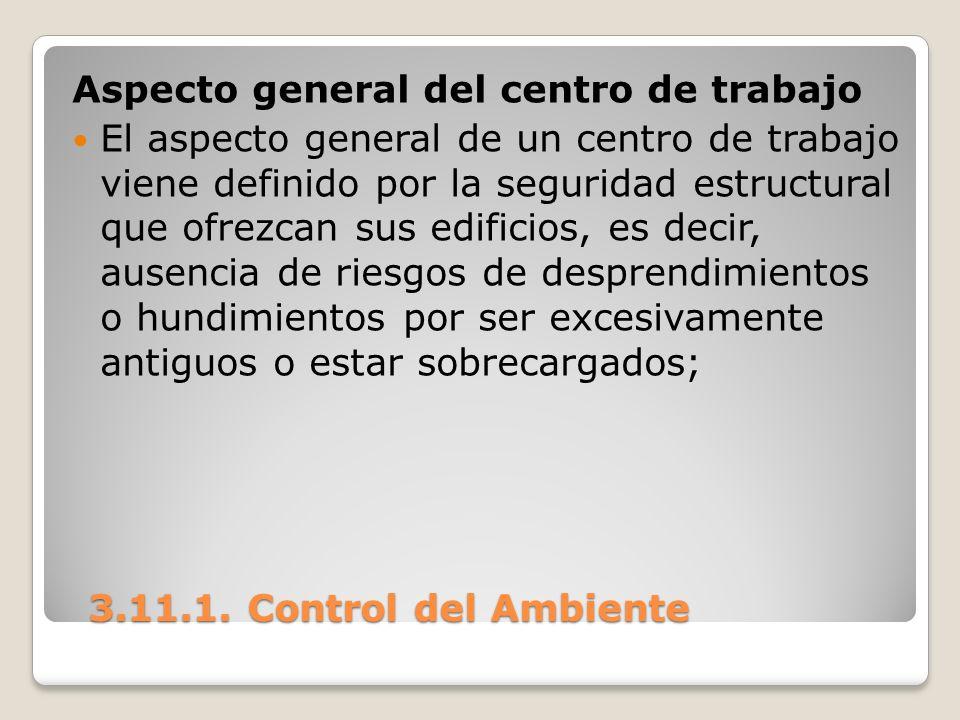 3.11.1. Control del Ambiente 3.11.1. Control del Ambiente Aspecto general del centro de trabajo El aspecto general de un centro de trabajo viene defin