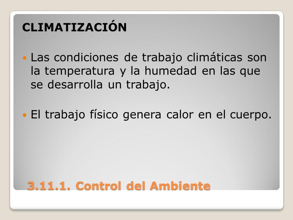 3.11.1. Control del Ambiente 3.11.1. Control del Ambiente CLIMATIZACIÓN Las condiciones de trabajo climáticas son la temperatura y la humedad en las q