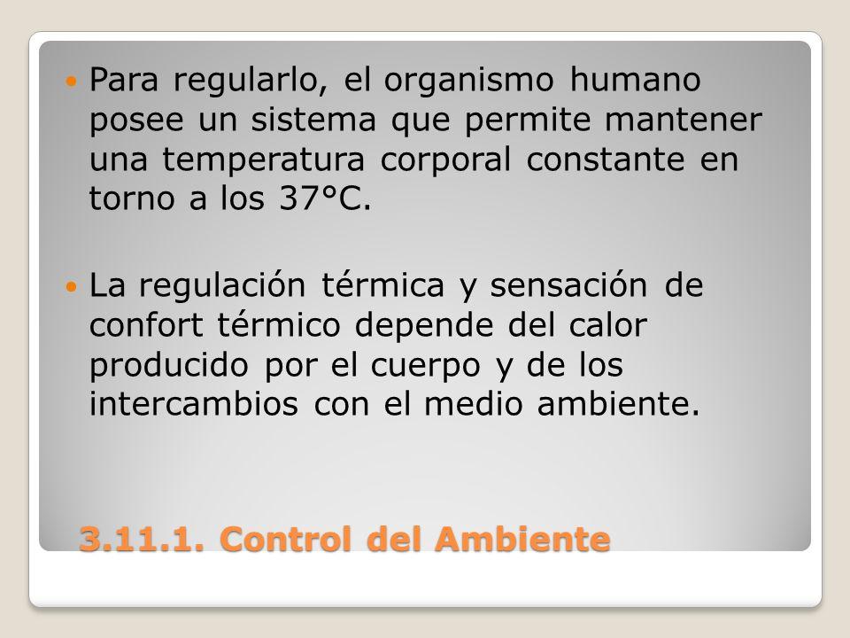3.11.1. Control del Ambiente 3.11.1. Control del Ambiente Para regularlo, el organismo humano posee un sistema que permite mantener una temperatura co