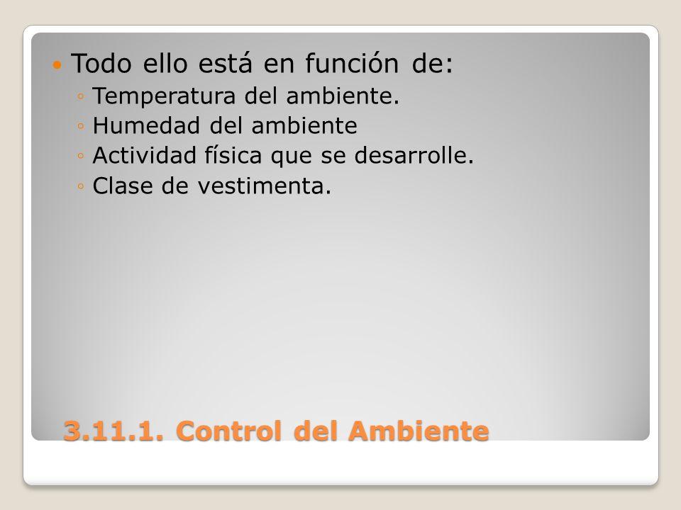 3.11.1. Control del Ambiente 3.11.1. Control del Ambiente Todo ello está en función de: Temperatura del ambiente. Humedad del ambiente Actividad físic